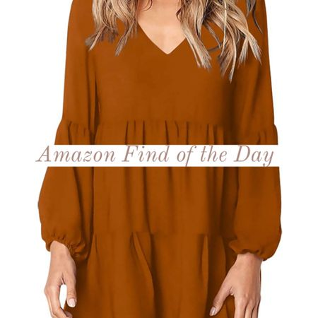 Fall Ruffled Swing Dress in Burnt Orange! Would look super cute with some white high top sneakers for the perfect transitional fall outfit! And I found it on Amazon! #LTKfall  #LTKunder50 #LTKstyletip #LTKunder100