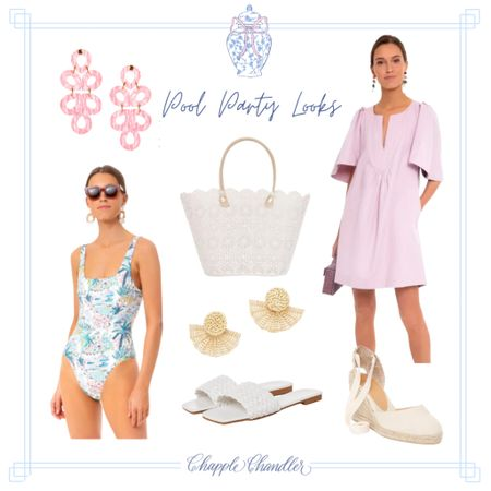 Pink blue white floral scalloped bathing suit Pool party poolside looks beach swimwear bathing suit sun hat straw hat bow hat pink gingham swimsuit swim suit one piece cover up caftan beach bag beach towel outdoor dining entertaining outfit   #LTKswim #LTKSeasonal #LTKunder100