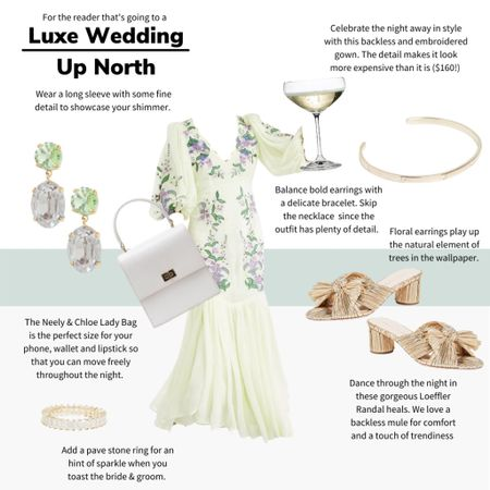 For the reader who is going to a luxe wedding up north! We love this dress ($160 but it looks more expensive than it is!) for a refined finish for a wedding. These playful accessories help you look like the best dressed guest at the party. #weddingguest #asos #loefflerrandall #weddingattire   #LTKwedding #LTKunder100