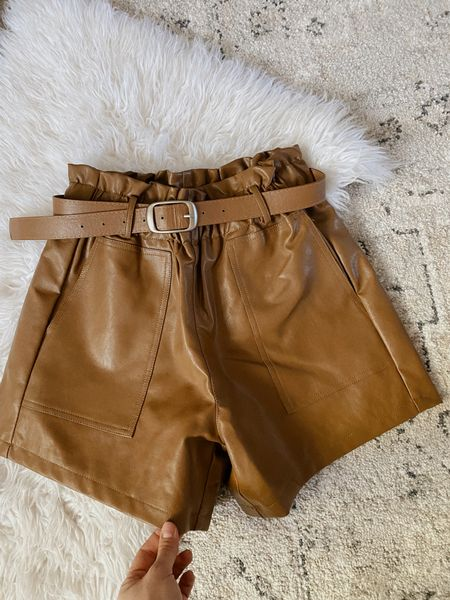 The perfect faux leather shorts for fall! Fall Fashion, fall style, faux leather, amazon fashion, amazon find  #LTKHoliday #LTKSeasonal #LTKunder50