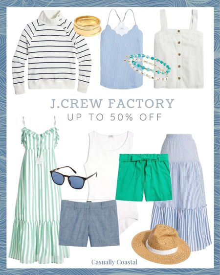 All items at J.Crew Factory are up to 50% off right now, and you can take an extra 15% off $100+ with code SWEETDEAL! beach style, coastal accessories, summer accessories, preppy style, beach vacation outfits, summer fashion, resort style, resort wear, beach style, beach vacation accessories, summer dress, dresses on sale, midi dress, sleeveless dress, dresses under 50, cotton dresses, sale dresses, dresses on sale, jcrew sale, j.crew sale, linen tanks, cotton tanks, cotton tank tops, blue and white striped sweatshirt, fleece sweatshirt, button color sweatshirt, summer sweatshirt, blue sweatshirt, slub knit, striped crewneck sweater, gifts for her, neutral dress, dresses for work, summer dresses for work, summer skirts for work, maxi skirts, blue and white maxi skirt, striped maxi skirt, linen shorts, paper bag shorts, shorts with a bow, shorts with a tie, chambray shorts, maxi cover-up dress, beach cover-ups, beach coverup, beach vacation coverups, coverups for women, swim coverups, white bodysuit, bodysuit tank, scoopneck tank, white scoopneck, scoopneck bodysuit, tiered maxi skirt, tortoise sunglasses, affordable sunglasses, women's sunglasses, straw hat, beach hats, beach hats for women, stacking rings, ring set, gold rings, beaded bracelets, bracelets for stacking, summer jewelry, camis for work, summer camisoles, summer tanks, scalloped, scallops  #LTKtravel #LTKsalealert #LTKfamily