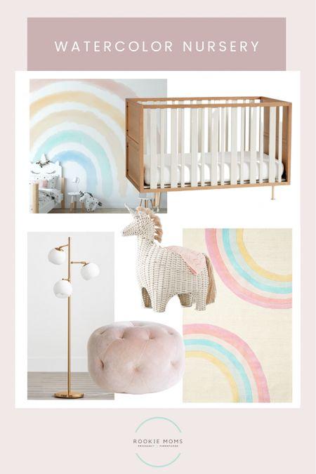 Watercolor rainbow nursery with this fun unicorn storage bin    http://liketk.it/3fW4Y #liketkit @liketoknow.it #LTKbaby #LTKbump #LTKhome @liketoknow.it.home Shop your screenshot of this pic with the LIKEtoKNOW.it shopping app