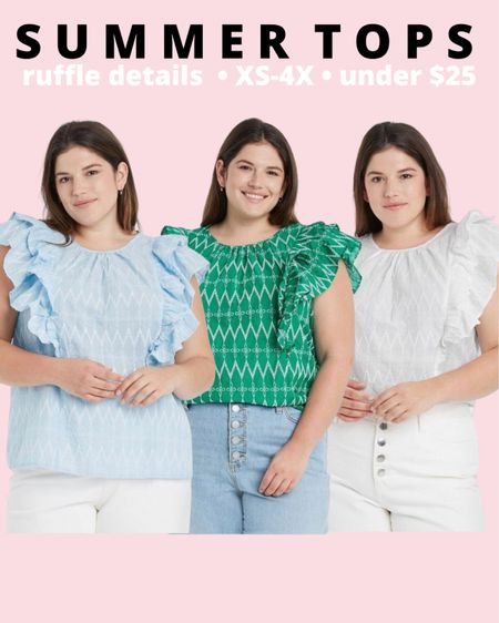 Plus size ruffle sleeve top from Target style! Comes in 3 colors and perfect for a plus size summer outfit or vacation outfit!   #LTKcurves #LTKstyletip #LTKunder50