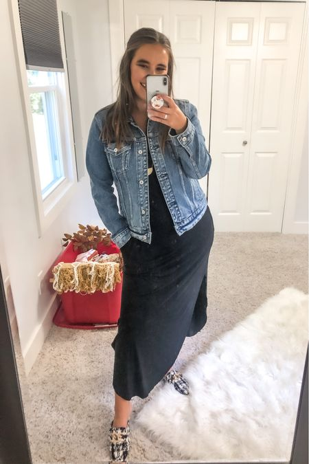 This maxi dress is the perfect transitional option and it comes in a bunch of color options, I'm privy to black because it can be dressed up or down! Also this denim jacket is very quickly becoming a staple!   #LTKstyletip #LTKSeasonal #LTKworkwear