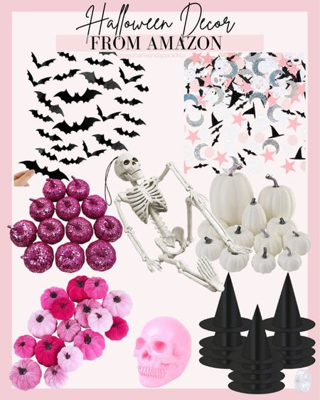 Amazon Halloween decor, 3-D bats, skeleton, which hats, pink pumpkins, glitter pumpkins, fall home decor,  #LTKunder50 #LTKhome #LTKHoliday