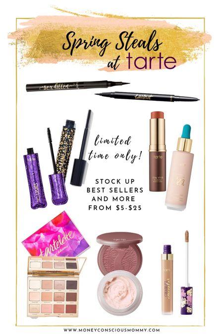 Tarte Spring Sale for Limited Time Only! Best Sellers and much more for Eyes, Face, and Lips from $5-$25 foundation concealer blush bronzer highlighter palettes mascara eyeliner  #LTKbeauty #LTKsalealert #LTKunder50