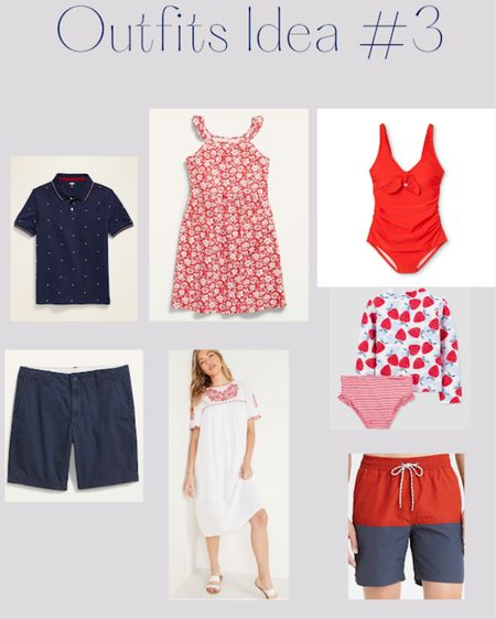Red beach outfits - swimsuits for matching family outfits for Fourth of July http://liketk.it/3iOx6 #liketkit @liketoknow.it #LTKfamily