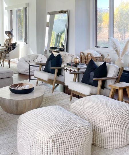 H O M E \ Living room details! Poufs, bean bag, side table, pillows and more all in stock!  #livingroom #livingroomdecor #pillows #poufs #homedecor  #LTKunder100 #LTKhome