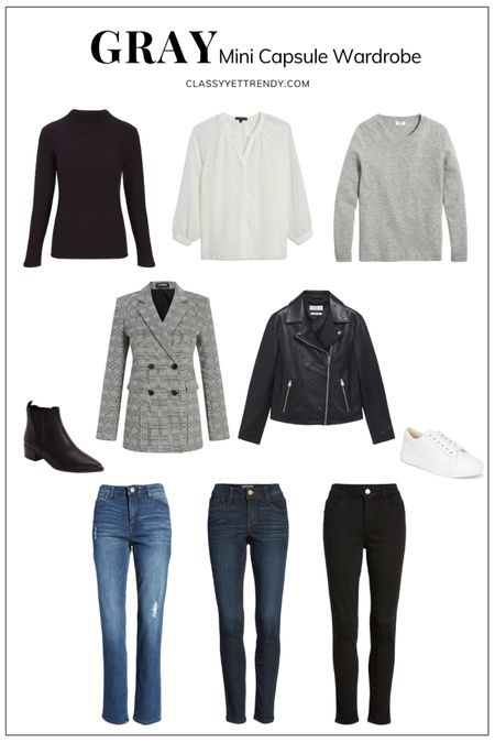 classy yet trendy, black mock neck tee, white blouse, gray sweater, plaid blazer, leather jacket, medium wash jeans, dark wash jeans, black jeans, black ankle boots booties, white casual sneakers   #LTKunder100 #LTKstyletip #LTKshoecrush