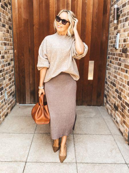 AW seasonal dressing - neutral styling of ribbed midi skirt and oversized knit  #LTKstyletip #LTKeurope #LTKSeasonal