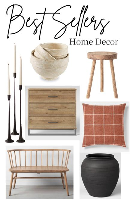 This weeks best sellers in home decor and accents target and Amazon finds modern farmhouse style candle sticks holders dresser nightstand throw pillows paper mache bowls wooden stool bench black vase   #LTKSeasonal #LTKunder100 #LTKhome