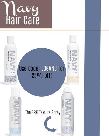 Navy Hair Care favorites on sale with code: LOGANC! Navy hair shampoo. Pebble beach texture spray. Stocking stuffers for her. Discount codes. http://liketk.it/322tO #liketkit @liketoknow.it #LTKgiftspo #LTKsalealert #LTKbeauty