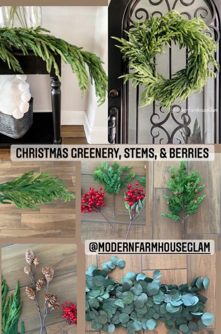 Realistic looking organic natural Christmas greenery at ModernFarmhouseGlam, garland, red berry stems, pinecone stems, pine branches, Christmas wreath, pine wreath, pine garland, eucalyptus garland, Norfolk pine branch. Afloral realistic pine decorations  Christmas decorations, Christmas decor, foam decor, holiday decor, rustic, Pottery Barn, Amazon home, gifts for her for the holidays at home    #LTKHoliday #LTKSeasonal #LTKGiftGuide
