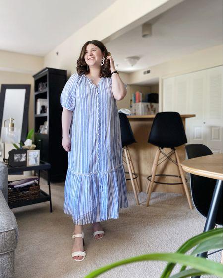 Stripe midi dress.   Shop my look and similar items at thefellowfashionista.com or the @liketoknow.it app. Sizing details on my blog.    http://liketk.it/3iDHv    #liketkit   #LTKstyletip     #LTKunder50   #LTKunder100