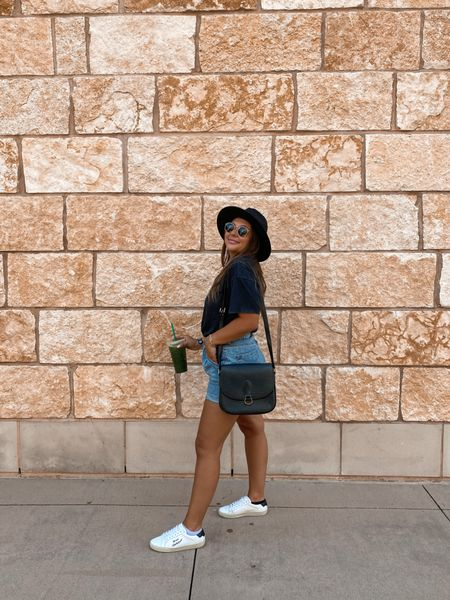 Casual Sunday to home goods outfit! Denim, tennis shoes, Saint Laurent, Louis Vuitton, felt hat, Starbucks, ootd   #LTKunder50 #LTKitbag #LTKshoecrush