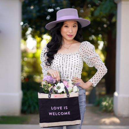 Love is welcome! Valentine's Day look! This white and black polka dot long sleeve top is so fun to wear! The puff sleeves are not overwhelming and add a stylish touch. Pair with your favorite boater hat and heart necklace! http://liketk.it/37NX1 #liketkit @liketoknow.it #LTKVDay   Follow me on the LIKEtoKNOW.it shopping app to get the product details for this look and others