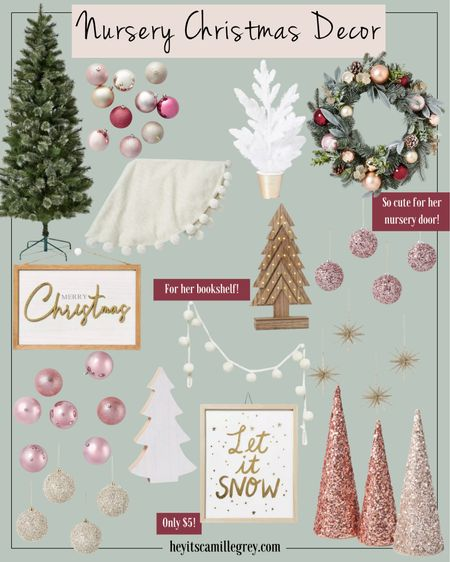 Nursery Christmas Decor - All from Target! Blushes, pinks, champagnes, gold and whites!  Loving the glitter christmas trees, glitter ornaments, star ornaments, merry christmas signs and let it snow sign. Putting the ornament wreath on her nursery door!  #LTKHoliday #LTKSeasonal #LTKbaby