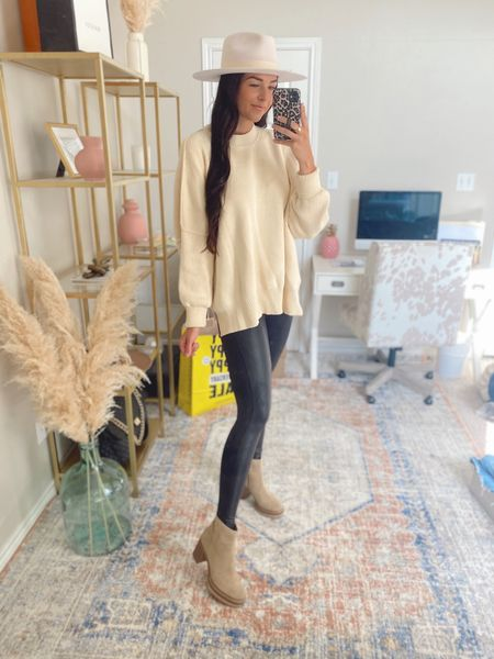 Small top and bottom, 8 shoes  Free people sweater, spanx leather leggings, ankle boots, Steve Madden ankle booties, fedora hat   #LTKstyletip #LTKswim #LTKshoecrush
