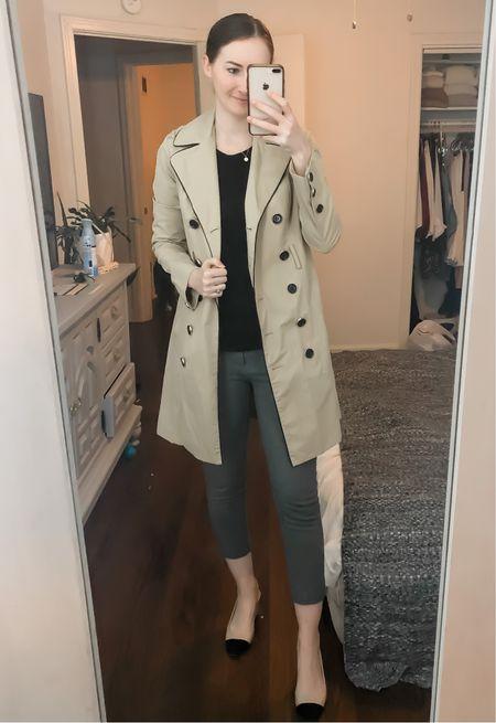 Business casual, work wear, wear to work, office style, grey dress pants, Chanel style slingbacks, trench coat  #LTKworkwear