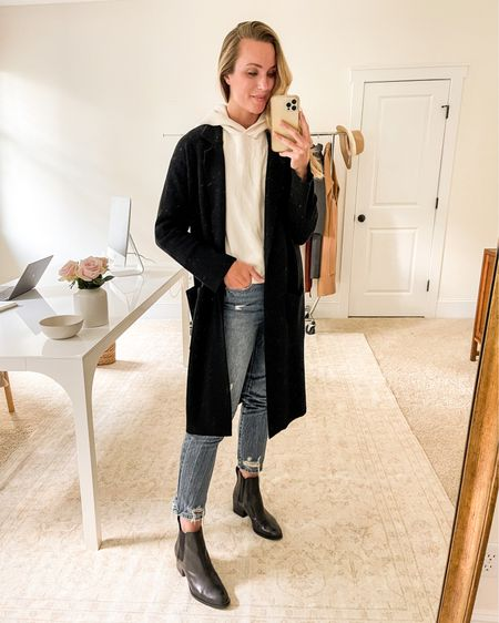 Black Cardigan, Black Sweater Blazer, Cream Hoodie, Ivory Hoodie, Fall Jeans, Chelsea Boots  Sharing 6 ways to style a cardigan coat on natalieyerger.com!  My black coatigan is no longer available in this color, but JCrew makes a similar option that I linked. Crop straight leg jeans run a tad snug. Hoodie is TTS. Exact Rag & Bone black chelsea boots sold out, similar linked.   #blackankleboots #blackanklebooties #sweaterblazer #bootcutjeans