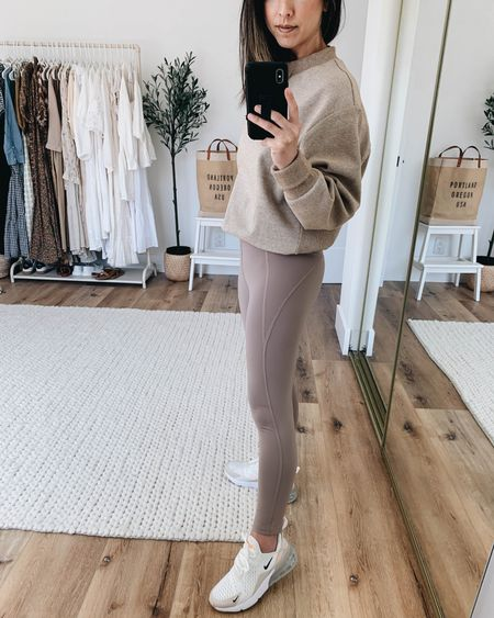 Beige leggings. Neutral athleisure wear.   Sweatshirt - Varley xs on sale!  Leggings - GIRLFRIEND xs Sneakers Nike 6  http://liketk.it/3hKNQ @liketoknow.it #liketkit #LTKsalealert #LTKfit