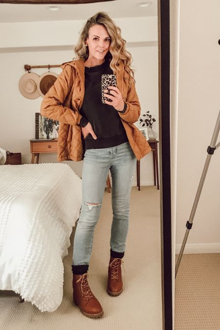 Light-weight puffer jacket (fits TTS) made from recycled materials. Toffee shade. Paired with a vintage sweatshirt and vintage jeans + lace-up booties and socks. #causalstyle #momstyle #falloutfit   #LTKSeasonal