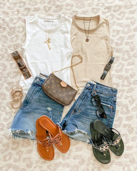 Abercrombie sale for LTKday! save 20% off! Summer outfit • casual outfit • denim shorts • bodysuit • Tory Burch miller's • LV • Louis Vuitton • upcycled • upcycled accessories • quay • watchband • watch band • Apple Watch band  I wear an xs in the bodysuits & 25 in the shorts. • save 10% on my watch bands code everydayholly & save 10% on my necklaces code DT10HOLLY • save 10% on my bracelets code holly10   #ltkday  #LTKsalealert #LTKstyletip #LTKSeasonal  #LTKunder50