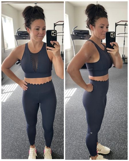 Technical leggings ans matching sports bra with scallop detail ans built in collagen. Use code: IVLXMYSHA15 for 15% off sitewide http://liketk.it/3fFNW #liketkit @liketoknow.it #LTKsalealert #LTKfit