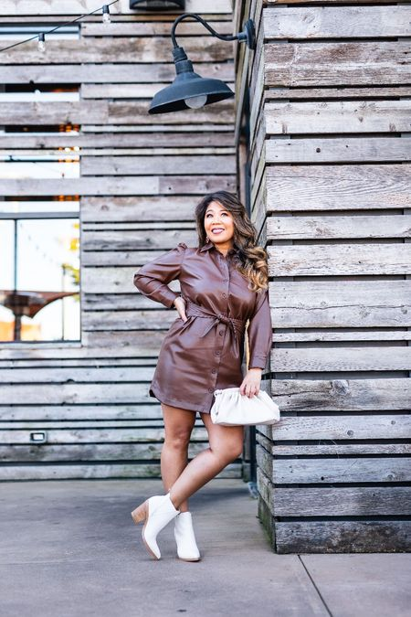 This faux leather dress comes in a couple of fall colors and perfect for date night! Pair with booties and clutch.  faux leather dress, booties, clutch bag, fall dress, fall ootd, fall outfit, fall lookbook, date night look, date night dress, fall shoes   #LTKitbag #LTKshoecrush #LTKunder100