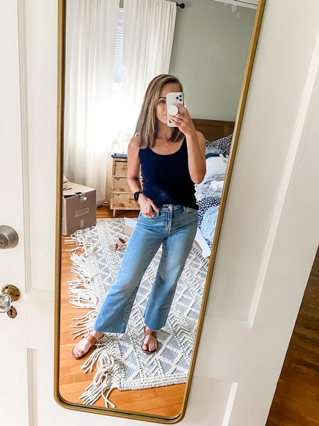 These wide leg cropped jeans are the perfect pair for fall! I need to have these him so that they had a little bit higher on my ankle, but I love the loose leg and the flattering bum!  #LTKSeasonal