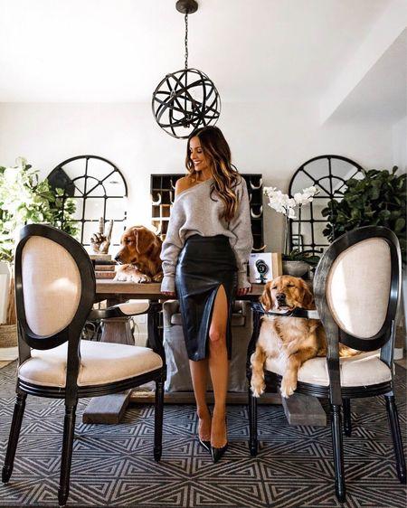 Fall workwear outfit Gray off the shoulder sweater  Superdown faux leather skirt, wearing an XXS   #LTKstyletip #LTKworkwear #LTKunder100