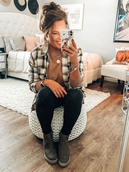 Give me all the plaid!! Chelsea boots, legging outfit, plaid shirt outfit, everyday outfit, mom style, target, pink lily, camel sweater #ltkfall   #LTKsalealert #LTKunder50 #LTKshoecrush