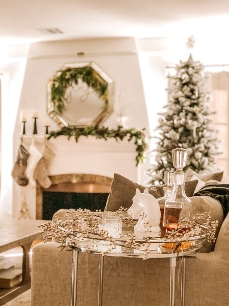 Merry and Bright ✨ Sharing our Christmas decorations on the blog today! I love how cozy the space feels thanks to lots of light, soft textures and a little sparkle.  . . Our pre-lit flocked tree is a purchase from last year that we love - and it's still in stock for under $170!   #LTKsalealert #StayHomeWithLTK #LTKhome