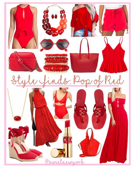 Summer Style Finds pop of red: summer dresses, swimwear, shoes bags and accessories http://liketk.it/3gggd #liketkit @liketoknow.it #LTKshoecrush #LTKitbag #LTKstyletip