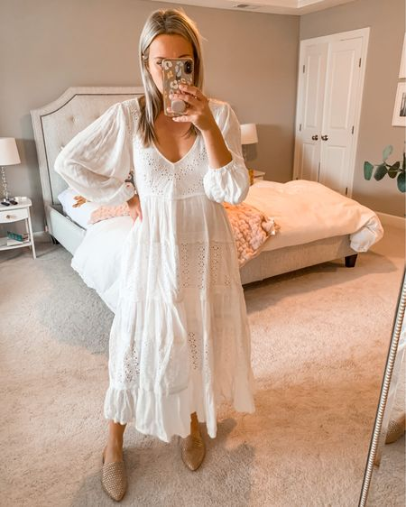 The perfect white flowy dress. Love the eyelet detail and the open back. I wore this for family pictures and it was perfect! http://liketk.it/2ZHwR #liketkit @liketoknow.it #LTKstyletip #LTKspring #LTKbump