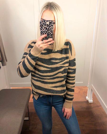 LOFT tiger striped sweater (XS) with high waisted skinny jeans (24 Petite)!! 50% off!! http://liketk.it/2FmjY @liketoknow.it #liketkit #LTKsalealert
