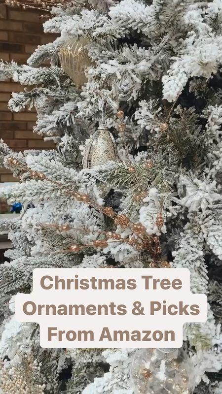 Amazon Christmas tree ornaments and Christmas tree picks  Glitter berries Plastic ornament balls   #LTKhome #LTKHoliday #LTKunder50