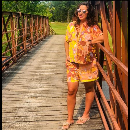 Floral prints, embellishments & a pop of neon. This tropical vacation vibe outfit is the perfect summer style. #vacationoutfits #summeroutfits #sets http://liketk.it/3jH0u #liketkit @liketoknow.it   #LTKstyletip #LTKsalealert #LTKunder50