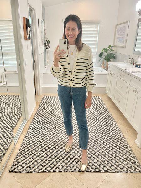 Alex mill sweater - tts Jeans - Everlane cheeky jean tts Shoes - Loeffler randall  Tee - Advocate the Label - ttts    #LTKstyletip