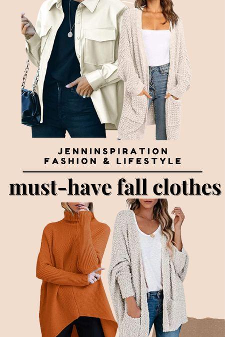 Must have fall clothes to wear! Shackets, knit cardigans, turtleneck sweaters   #LTKHoliday #LTKstyletip #LTKsalealert