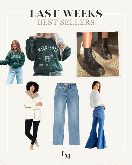 Last weeks best sellers! Etsy find, state sweatshirt, Jadon boot, doc martens, free people, flare jeans, QVC, UGG, sherpa fleece, curve love jeans, Abercrombie, high rise denim   #LTKunder50 #LTKstyletip #LTKunder100