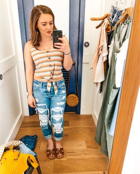 American Eagle sale try on http://liketk.it/2BKQI @liketoknow.it #liketkit #LTKitbag #LTKsalealert #LTKshoecrush #LTKspring #LTKstyletip #LTKunder50 #LTKunder100 American eagle distressed jeans tie front top spring outfit spring sandals colorful top rainbow stripes sunglasses straw round bag rattan bag