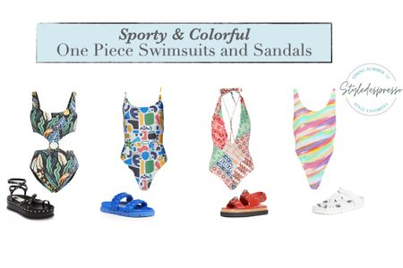 This Summer, it's all about the sporty and chic one piece swimsuit and a pair of sport sandals.   Style tip: make sure to mix it up with a colorful one-pieces and neutral sandals or go bold with you beach outfit and pair your bright one-piece suit with an equally bright pair of surf sandals or platform sandals.  Swimsuits | Vacation outfits | Beach vacation | Summer fashion | One-piece swimsuit | Colorful swimwear | Platform sandals | Platform shoes | Bathing suit      http://liketk.it/3c9DF #liketkit @liketoknow.it    #LTKshoecrush #LTKstyletip #LTKswim