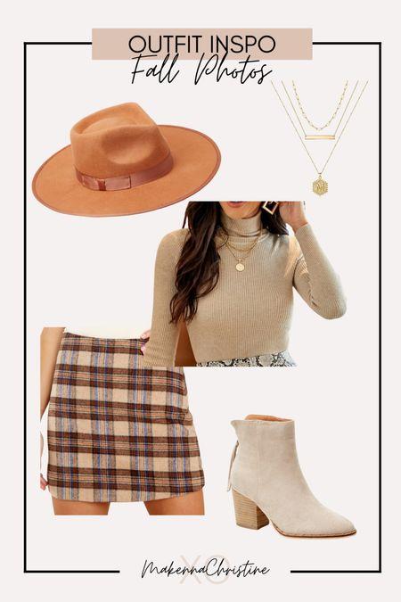 Fall photos outfit ideas! Plaid skirt for fall!
