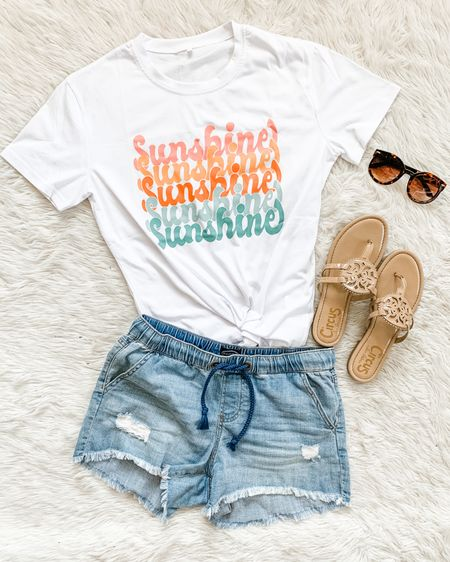 More sunshine please! ☀️ Love the colors in this $16 Amazon graphic tee. 😍💕 I sized up to a large and it's a perfect fit (I wouldn't even say it's oversized, more like a classic cotton tee fit, if that makes sense. If not DM me. Lol)😆 Link in bio and Stories! http://liketk.it/3kPrr #liketkit @liketoknow.it #LTKunder50 #amazonfinds #amazonfashion #founditonamazon