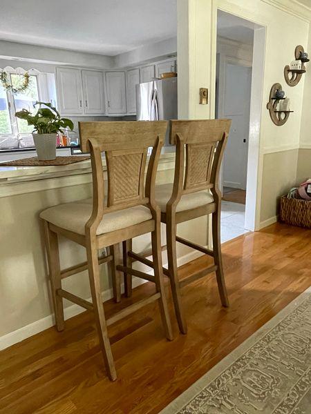 """Kitchen bar stools - distressed wood - 30"""" bar stools with back on sale $160   #LTKsalealert #LTKhome"""