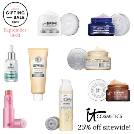 The LTK Early Gifting Sale starts today! All of your skincare and makeup favorites and bestsellers from it Cosmetics are on sale for 25% off through September 21st, only in the LTK app!  . Cleanser anti aging moisturizer tinted lip balm serum night cream vitamin c hyaluronic acid cleansing balm   #LTKSale #LTKbeauty #LTKsalealert