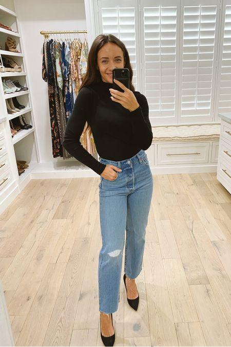 #nsale Levi's mom jeans and black turtleneck. Black heels.   #LTKunder50 #LTKsalealert #LTKstyletip