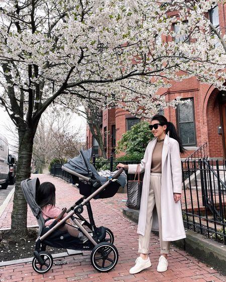 Casual spring outfit ~ Wearing Ann Taylor faux leather pants xxs petite (2 colors), Uniqlo tee (old), old navy coat Xs petite, everlane sneakers 5. Stroller is the Cybex gazelle - amazing 1 to 2 seat convertible stroller! http://liketk.it/3eNjW #liketkit @liketoknow.it #LTKbaby #LTKsalealert #LTKfamily