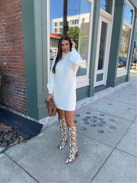Turtleneck sweater dress from Amazon fashion, under $35 medium and snakeskin boots   #LTKSeasonal #LTKunder50 #LTKshoecrush